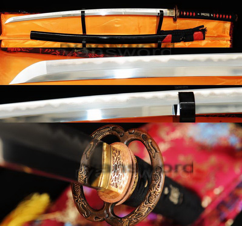 HIGH QUALITY COMBINED MATERIAL CLAY TEMPERED+ABRASIVE JAPANESE KATANA SWORD RED RAYSKIN