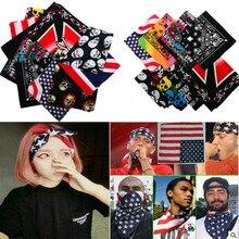 ФОТО 19 styles unisex kerchief skull flag print cotton paisley bandana camouflage double side head wrap scarf wristband 2016 new!!
