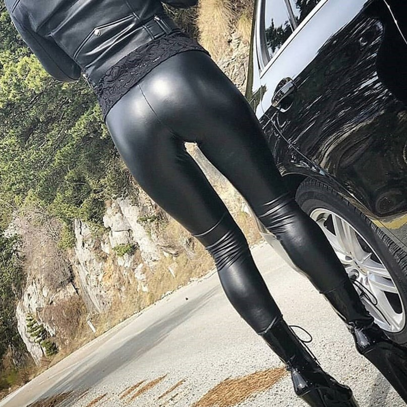 EOEODOIT Leggings Women Sexy Empire High Elastic Leather Party Pants Wide Waist Slim Large Stretch Lady Trousers Push Up Hip
