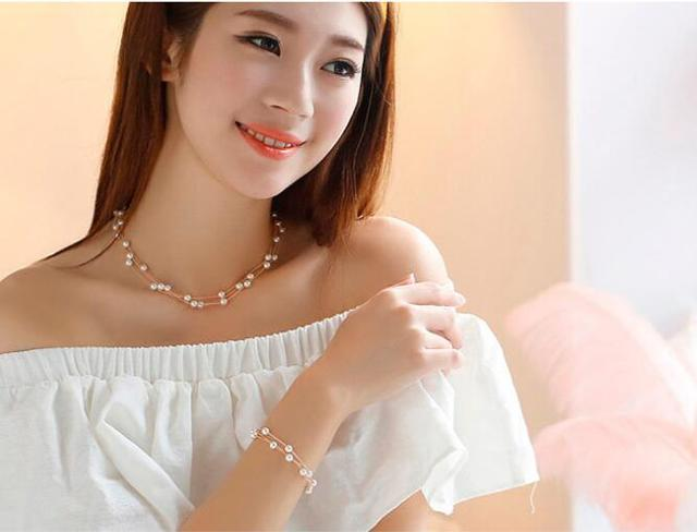 Imitation Pearl Jewelry Set Simulated Pearl Double Layer Women Earrings Necklace Bracelet Sets 4