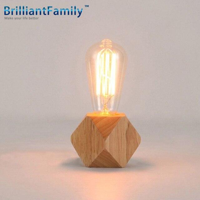 E27 Modern Industrial Diamond Wooden Base Table Bedside Desk Lamp Light FixtureAdjustable light wood bedroom study desk
