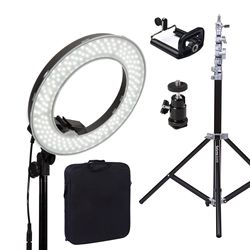 Dimmable Diva LED Ring Light 14 5500K With Diffuser Light Stand For Video Photo