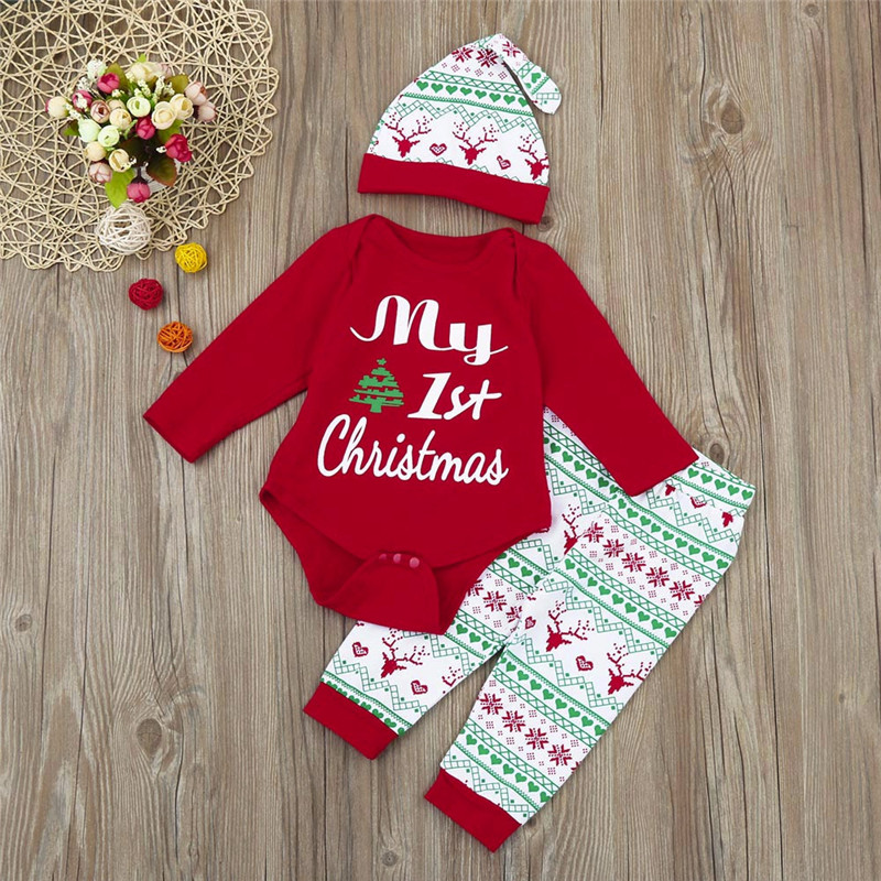 Baby Christmas Clothes 3Pcs Infant Boy Girl Romper+Pants+Hat Outfits Set