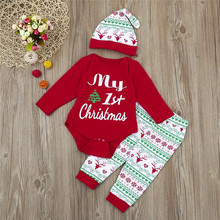 Baby Christmas Clothes 3Pcs Infant Boy Girl Romper+Pants+Hat Outfits Set