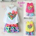 Baby Girls Children set kids clothes love print female child T-shirt and flower shorts new 2014 summer girls clothing sets