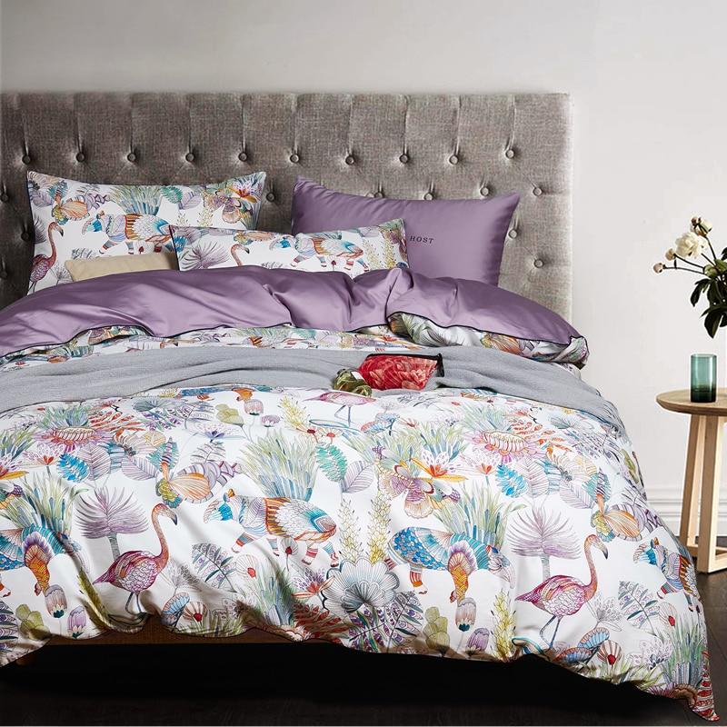 Egyptian cotton bed linen sheets Satin bedding sets duvet cover flower print girls pastoral princess bedspreads