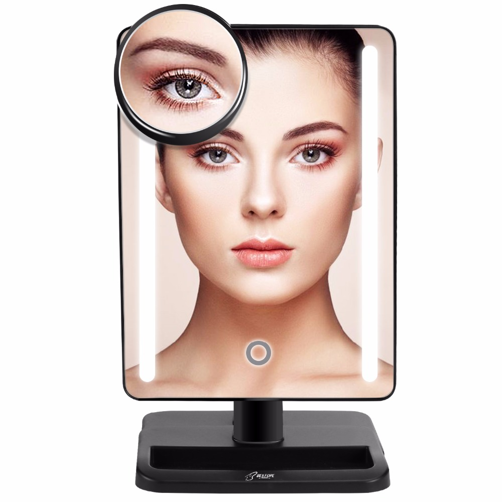 24 LED Lighted Makeup Mirror with Detachable 10X Magnifying Spot Mirror Portable Compact Travel Mirror White,Black Color makeup mirror with 16 leds 10x magnifying portable desktop travel mirror wall suction mounted 360 degree rotation round mirror
