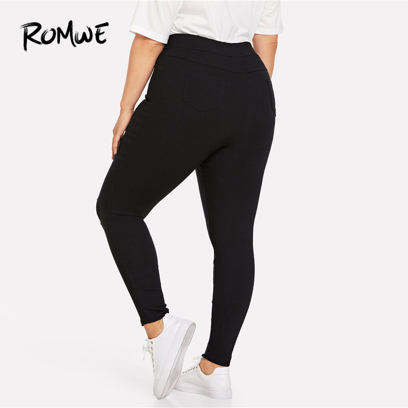 7d7096a3439 ROMWE Plus Size Cut Out Pocket Black Pants Female Skinny Weekend Casual  Plain Long Trousers Spring Fall Womens Fashion Pants-in Pants   Capris from  Women s ...
