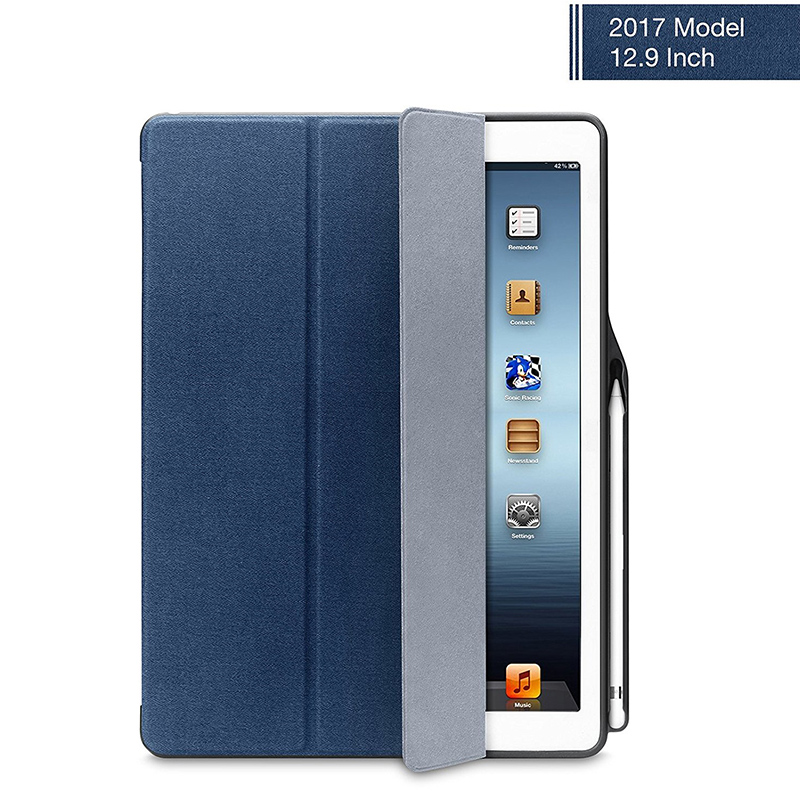 For iPad Pro 12.9 Case Leather Ultra Slim Flip Folio Smart Cover With Pencil Holder For Apple iPad 12.9 Case 2017 Version New nice soft silicone back magnetic smart pu leather case for apple 2017 ipad air 1 cover new slim thin flip tpu protective case