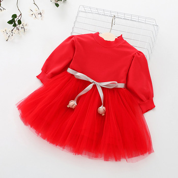 Fashion stitching Baby Girl Dress Long sleeve spring Dresses for 0-24 month Girls Clothes Vestido Infantil Newborn Baby Clothing 1
