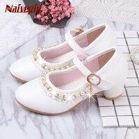 Çocuk Zarif Prenses Sandalet Çocuk Kız Düğün PU Deri Ayakkabı Yüksek Topuklar Elbise Parti Boncuklu Ayakkabı Kızlar Için Pembe Beyaz