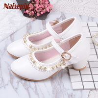 Children Elegant Princess Sandals Kids Girls Wedding PU Leather Shoes High Heels Dress Party Beaded