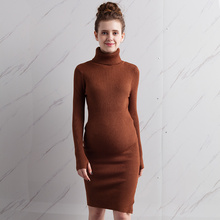2016 maternity clothing autumn turtleneck sweater medium-long pullover maternity autumn and winter basic shirt knitted one-piece