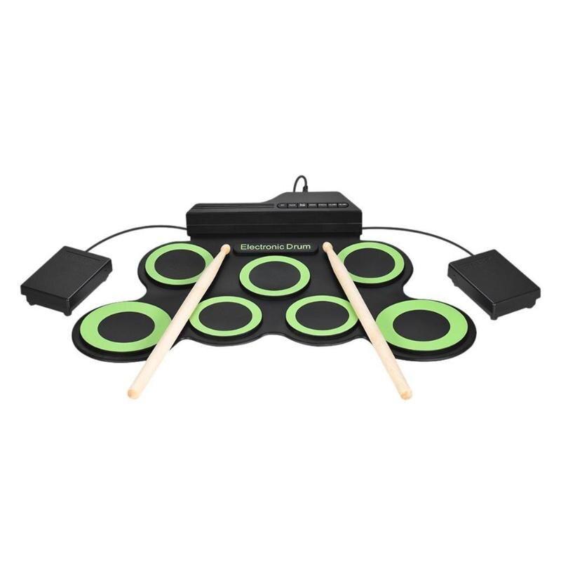 Enfants Silicone électronique tambour enfants Portable retrousser Instruments de Percussion musicale jouets bébé musique apprentissage tambour pilon