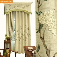 Custom curtains Flower rain Velvet embroidered Flower high grade Chinese beige cloth blackout curtain tulle valance drapes N814