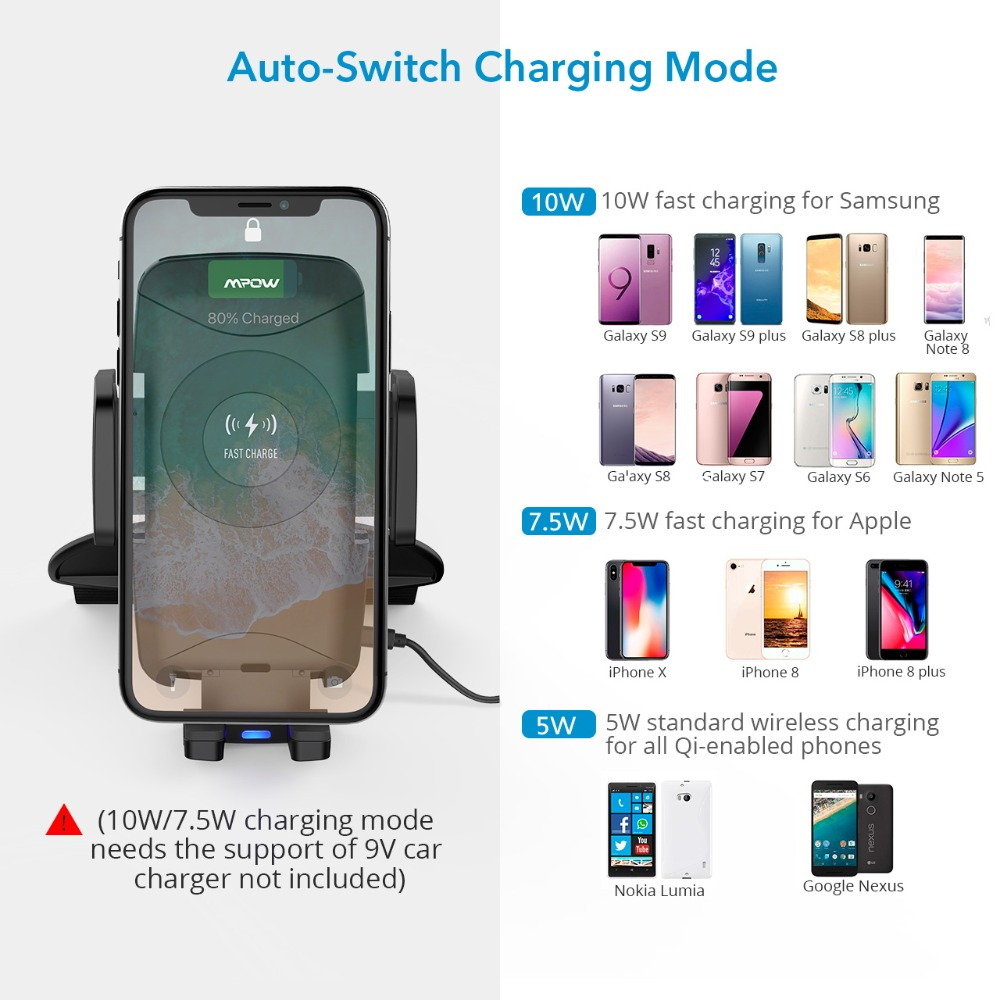 Image 4 - Mpow CA108 2 in 1 10W/7.5W/5W Qi Wireless Charger CD Slot Car  Phone Holder Stand For iPhone X 8/Plus Samsung S9 S8 S7 S6 Note 8Phone  Holders