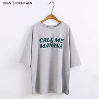 XUANCHURANWEN Women Round Neck Tshirt Half Sleeve Cotton Autumn Spring Tops Loose Casual Letters Print T