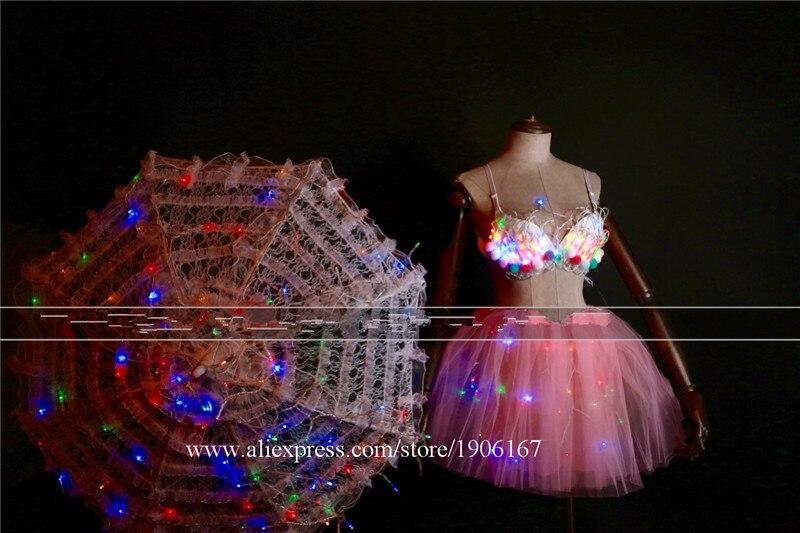 White Valentine\'s Day LED luminous wedding design gogo female songs ds hundred DJ suit costumes01
