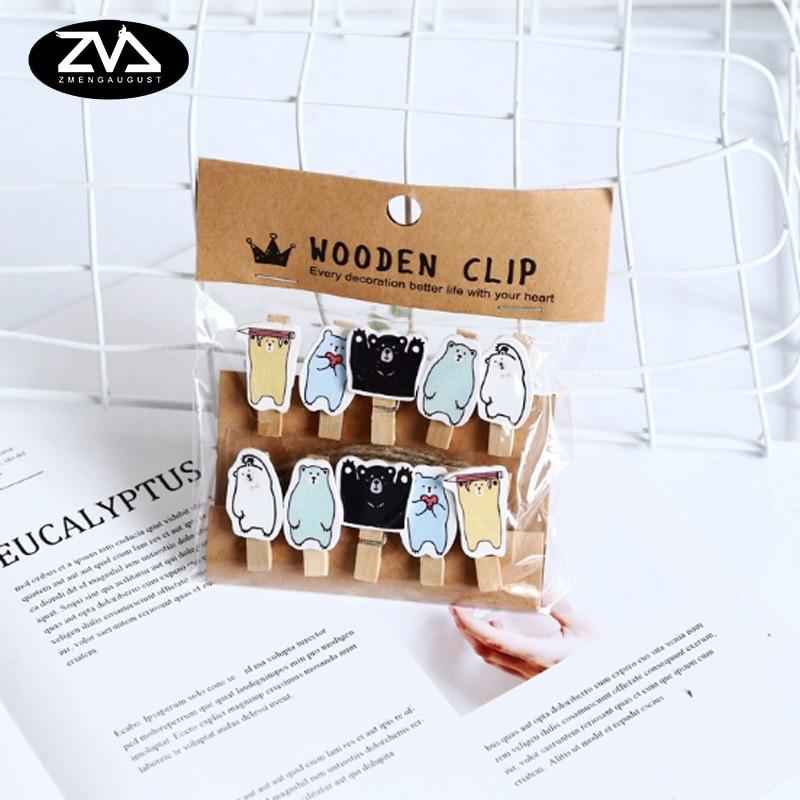 10Pcs/lots Kawaii Mini Bear Wooden Clip Photo Paper Postcard Craft DIY Decoration Clips Office Binding Supplies With