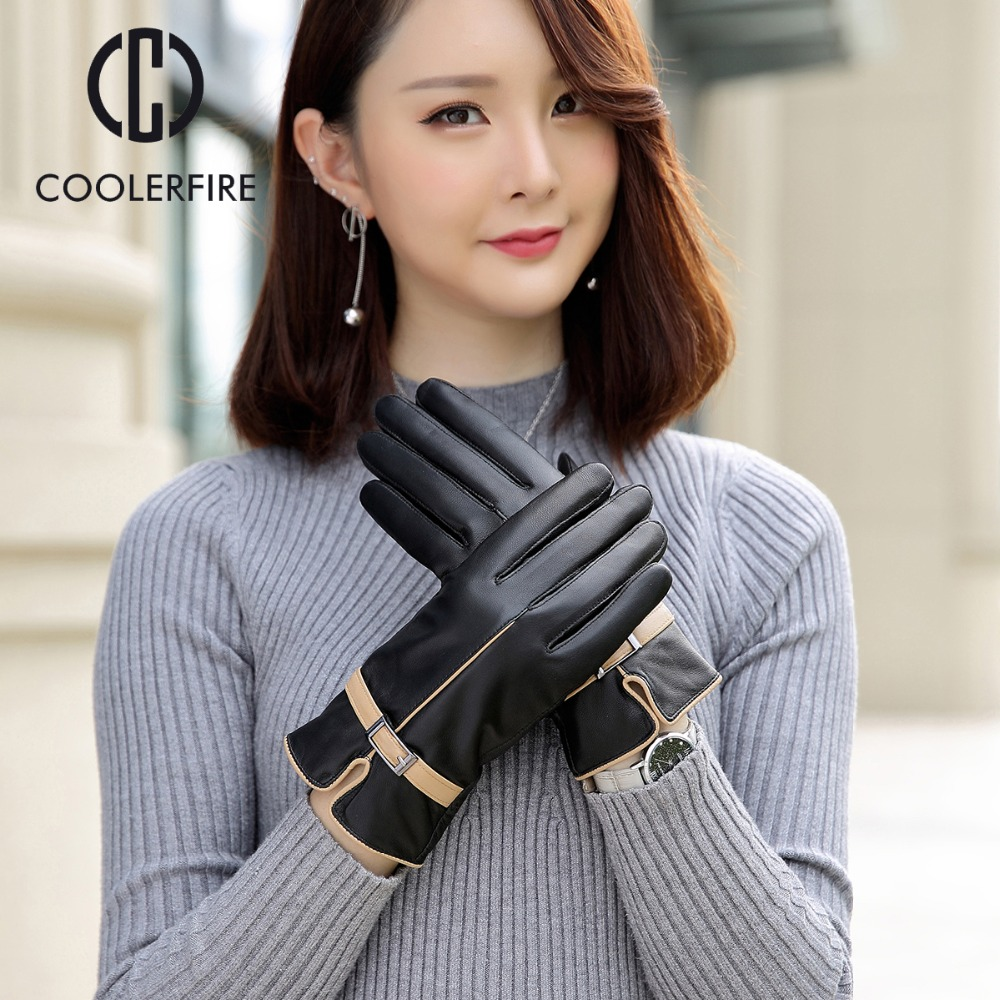 High Quality Elegant Women Genuine Lambskin Leather Mittens Pin Buckle Autumn And Winter Female Hot Trendy Female Gloves ST024