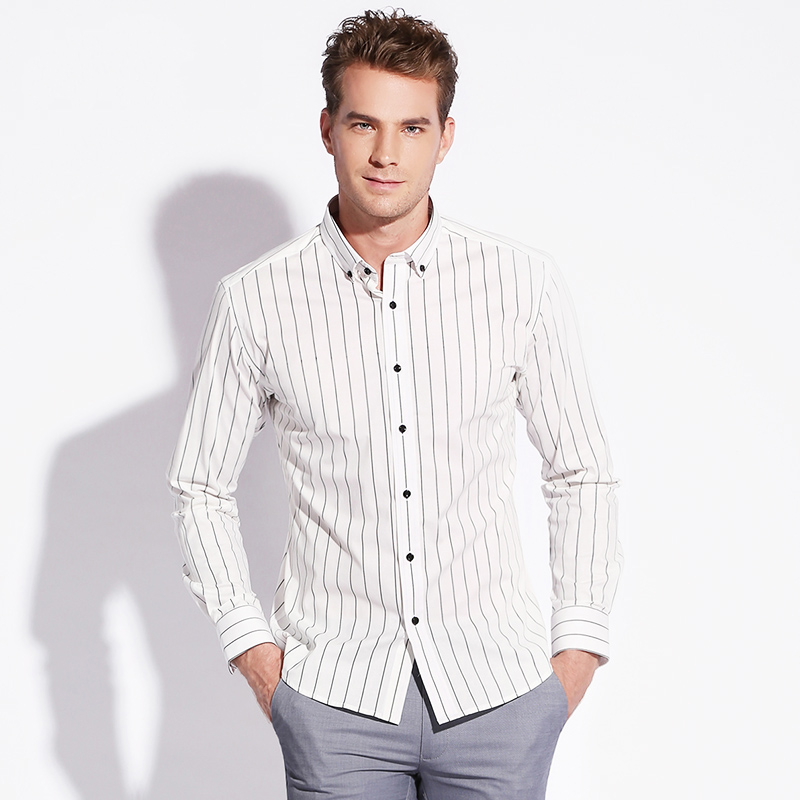 Autumn New Cotton Shirts Long Sleeve Striped Shirts Men Business Casual Brand Slim Button Down Shir Navy Blue White