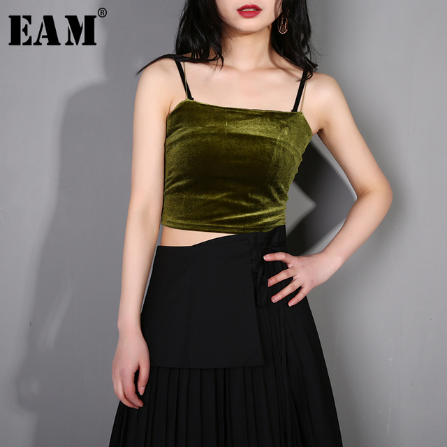 [EAM] 2019 New Spring Summer Brief  Sleeveless 4 Colors Soft Temperament Velvet Tank Tops Women Fashion Tide All-match  F80