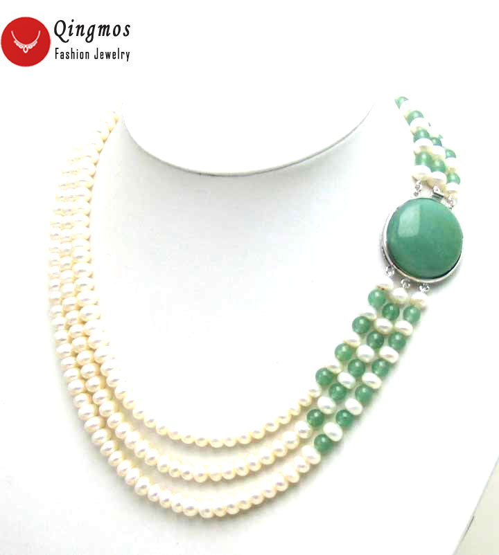 Qingmos White Natural Freshwater Pearl Neckalce for Women with Green Jades & 6mm Flat Round 3 Strands Pearl Chokers 17 Jewelry