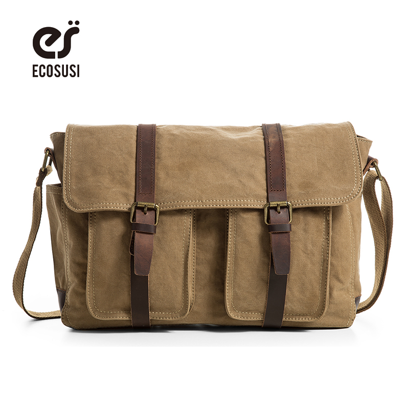 ecosusi Vintage Briefcase Canvas + Leather Shoulder Bags Men Tote Briefcase Leisure Bag aosbos fashion portable insulated canvas lunch bag thermal food picnic lunch bags for women kids men cooler lunch box bag tote