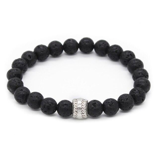 Poshfeel Alloy Baseball Charm Bracelet For Men Sport Jewelry 8mm Black Onyx Stone Beaded Mbr170363