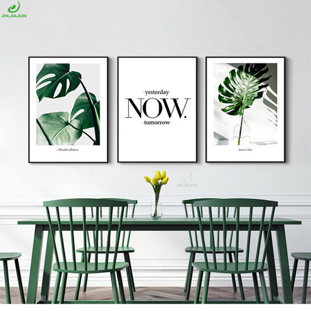Nordic Style Green Plant Posters Prints Leaf Wall Art Canvas Painting