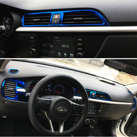 Fit RIO X LINE Central Air Outlet Frame Stainless Steel Decoration Stickers Auto Interior Frame for KIA RIO 2017