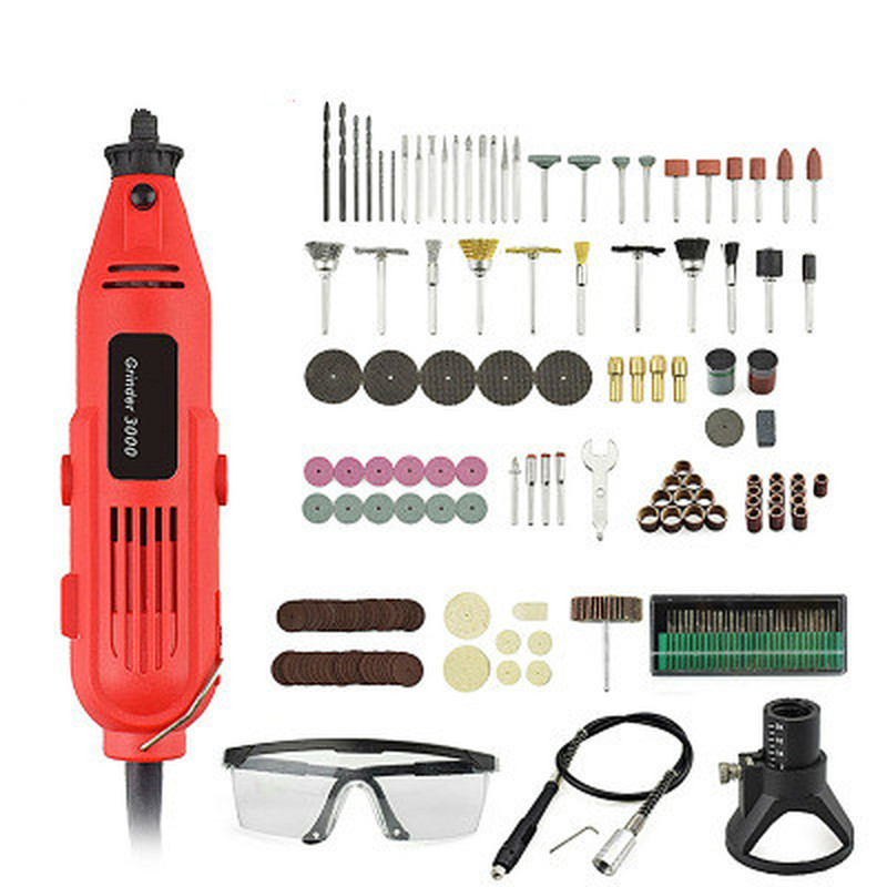 220V 350W Rotary Tool Mini Electric Grinding Drill Change Cutting Hole Mould Speed Grinder Set with Metal Engraving Accessories|Electric Drills| |  - title=