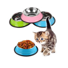 Stainless Steel Pet Dog Bowl Diameter 22cm 26cm Puppy Cats Food Drink Water Feeder Pets Supplies Non-slip Feeding Dishes