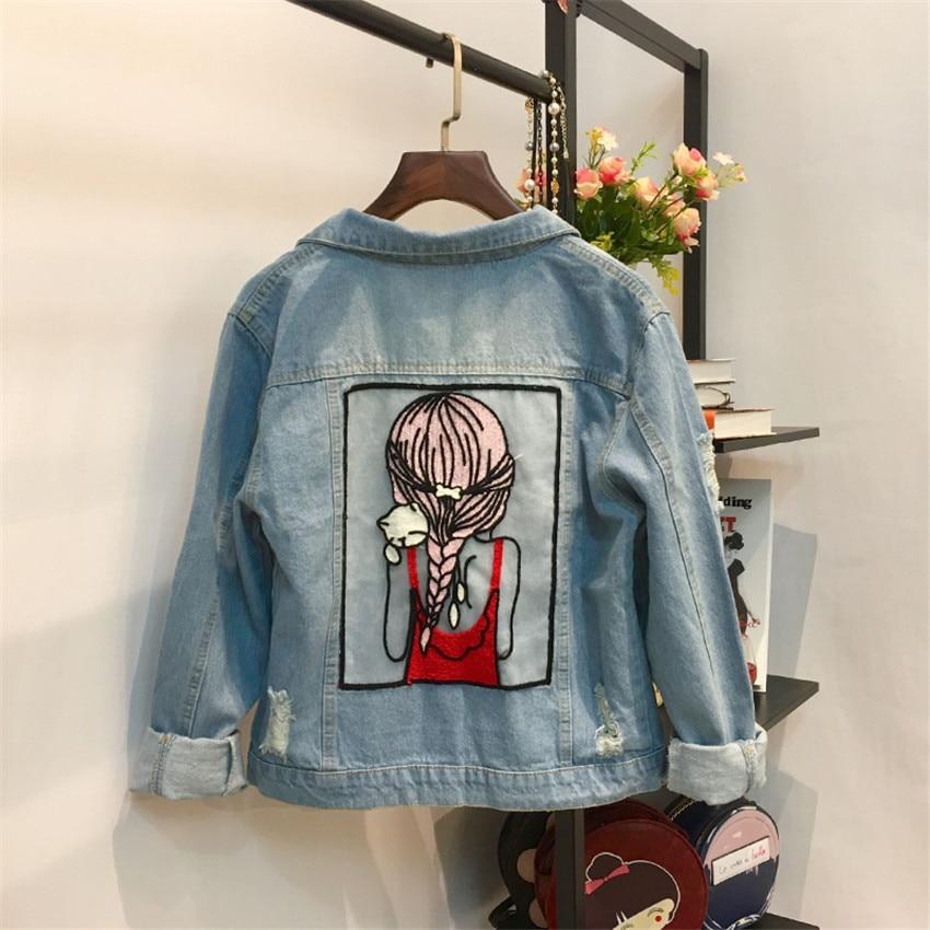 2018 New Spring Big Size Women Denim   Jackets   Lapel Jeans   Jacket   Slim Girl Blue Cartoon Coats Autumn Lady   Basic   Coat Feminino 356