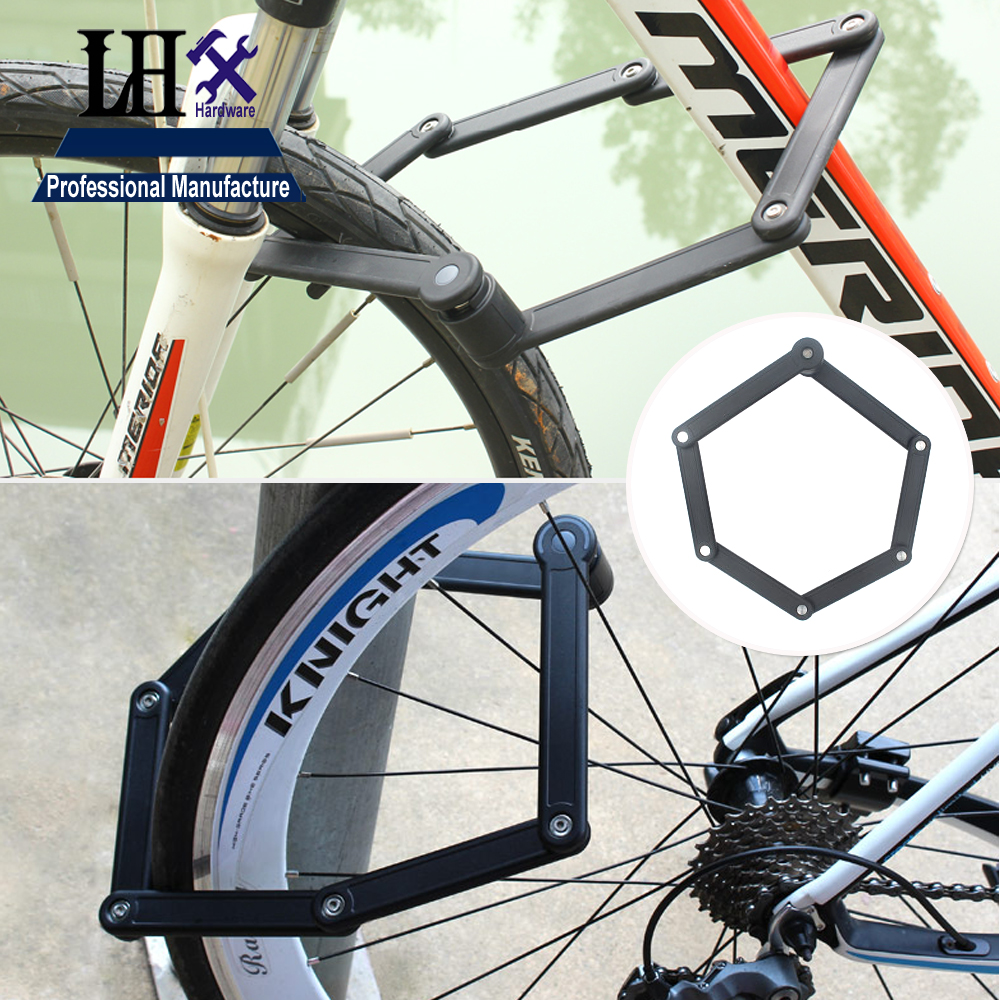 LHX Folding Bike Lock, Ultra Strong Harden Steel Alloy Metal Bone With Plastic Coating,Steel Bicycle Lock