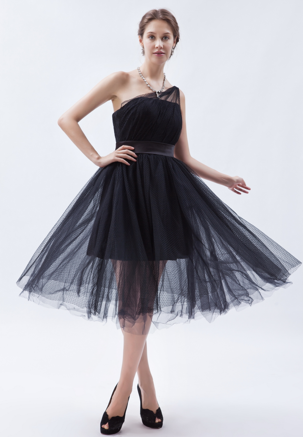 Gardlilac Tulle One-shoulder Short HomecomingDress Simple Black Party Dress A-line Evening Party Gowns