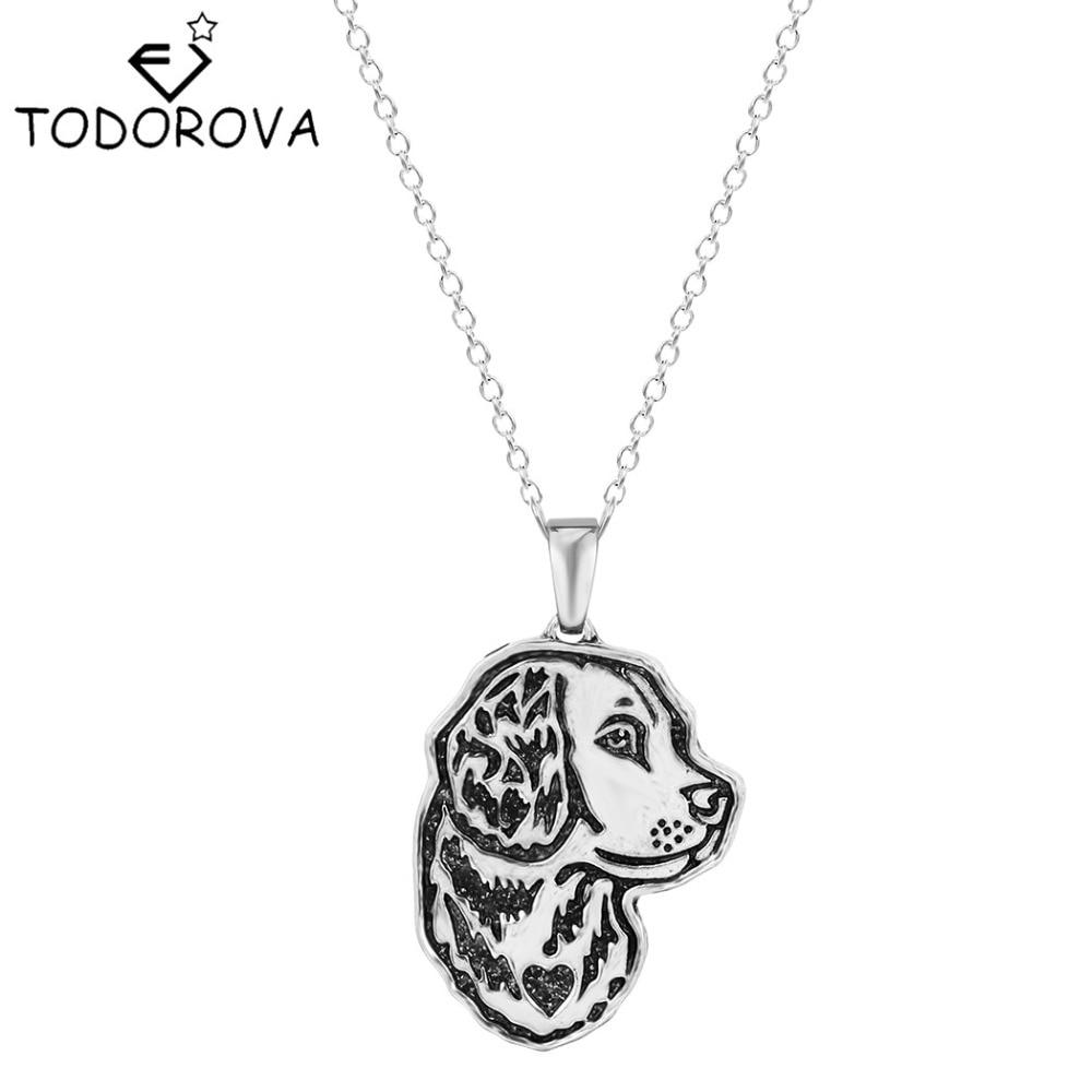 Todorova Animal Dog Pendant Necklace Golden Retriever Greyhound German Shepherd Dog Memorial Vintage Punk Accessories for Women
