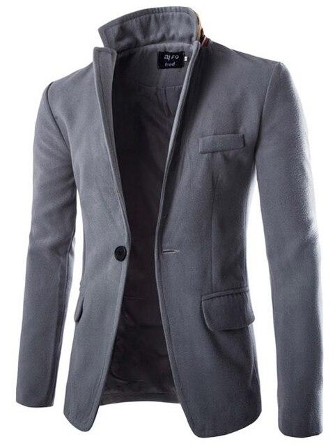 Мода 2017 Новой Англии мужская шерсть Повседневная пиджак пальто мужские Slim Fit однобортный Теплые костюмы куртки пальто