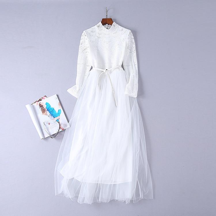 Gaze 2018 Soluble Femmes De 0823 Dans Nouvelle À Couture Blanc Automne Longues Manches L'eau Robe rxAPr