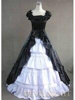 Классический Черный и белый с короткими рукавами, с бабочкой готический, викторианской эпохи платье