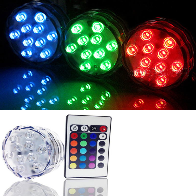 Led Underwater Lights Careful Battery Operated Rgb 10 Led Submersible Light Ip68 Waterproof Underwater Swimming Pool Wedding Party Piscina Pond Lighting