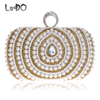 LUCDO Diamonds Finger Ring Fashion Woman Chain Wallets And Handbags Beaded Wedding Party Clutch Bag Female Small Shoulder Bag