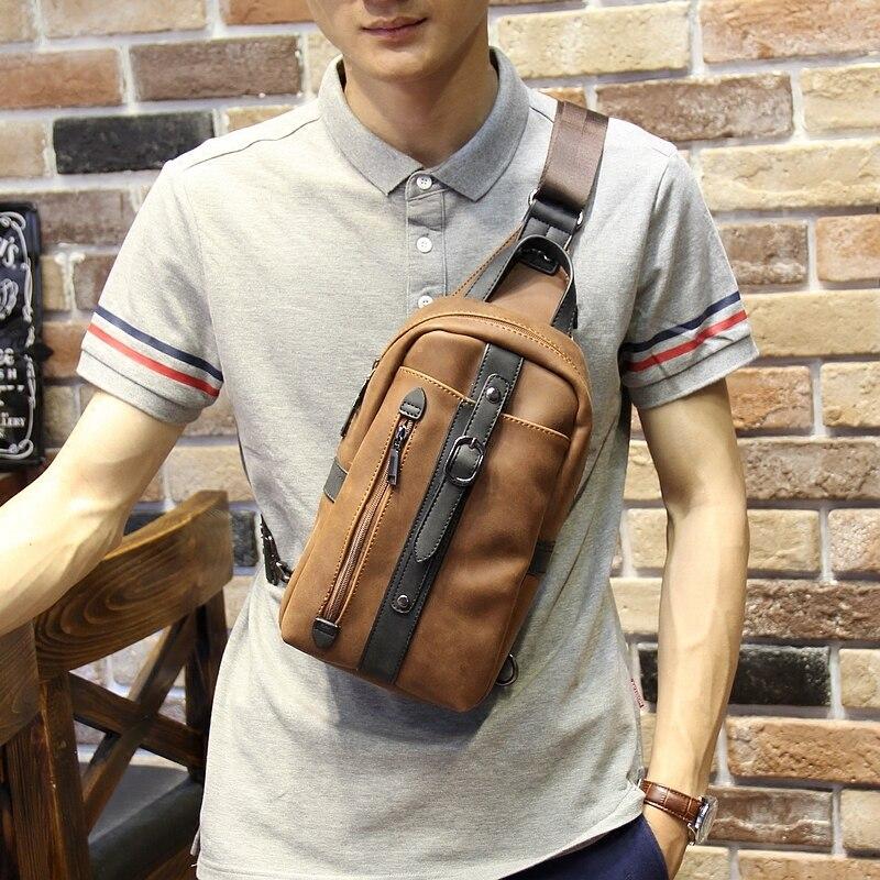 Image 2 - Новый дизайн, Мужская нагрудная сумка из искусственной кожи, корейская мода, повседневная коричневая Диагональная Сумка на плечо, мужская сумка мессенджер, сумка слинг