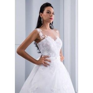 Image 5 - Miaoduo balo gelinlik 2020 dantel aplikler kolsuz gelinlikler kristal Sashes Vestido De Novias hochzeitkleid yeni
