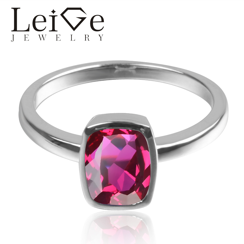 Leige Jewelry Lab Ruby Fine Jewelry 925 Sterling Silver July Birthstone Cushion Cut Engagement Solitaire Rings For Woman