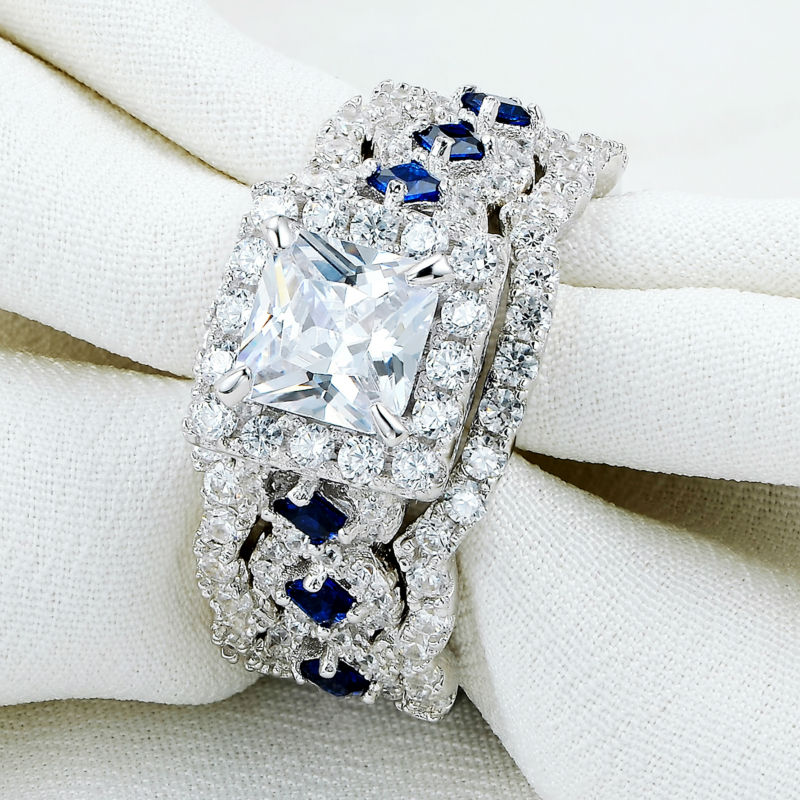 3 Pcs 925 Sterling Silver 2.6Ct White Blue AAA CZ Classic Wedding Ring Set