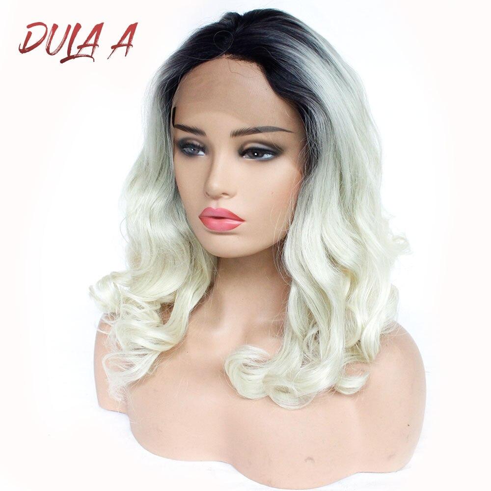 Dula A brun Rose Rose Ombre perruque longue ondulée résistant à la chaleur cheveux synthétiques dentelle avant Gluelesse fibre perruques pour femme noir/blanc