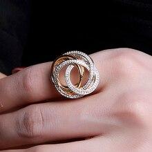 Beste Geschenk für Geburtstag Elegante Design Ring Pflastern 3A Multi Farben Zirkonia Gold Platte Schmuck