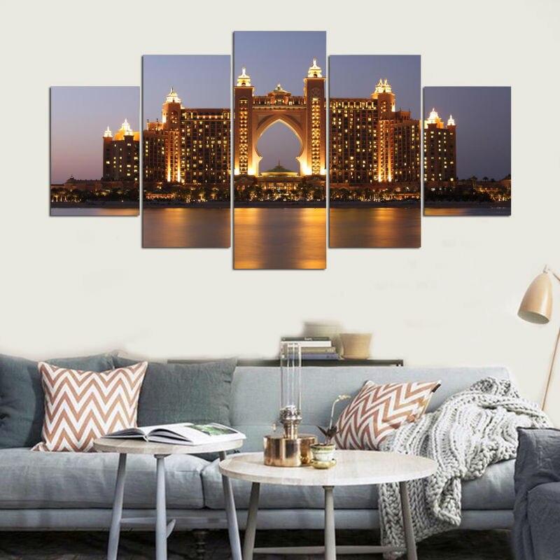 Печати картина в рамке Аннотация современного Домашний Декор холсте 5 Панель Hotel Dubai ночью стены Книги по искусству для Гостиная Модульная к... ...