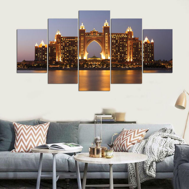 Print Painting Framed Abstract Modern Home Decor Canvas 5 Panel Hotel Dubai  At Night Wall Art